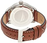 Nautica Men's N12563G BFD 101 Date Cream Dial Tan Leather Watch
