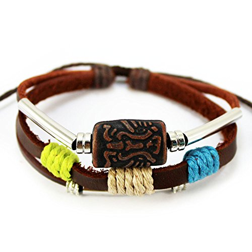 Real Spark Pattern 3-Row Silver Tone Tube Wood Beaded Adjustable Leather Wrap Bracelet (Totem)