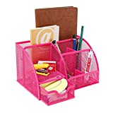 Joinwin® Hot New Multipurpose Fuchsia Pink Metal Mesh 6 Compartment Desk Organizer Office Supply Caddy (Pink)
