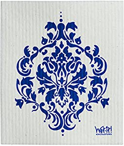 Swedish Treasures Wet-it! Cleaning Cloth, Works Great in Kitchen, Bathroom or Any Room, Reusable & Biodegradable, Navy Damask