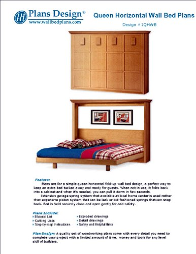Easy Murphy Horizontal Queen Size Wall Bed Frame Woodworking Plans, 1Qhwb