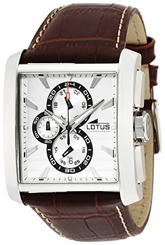 Lotus Men's Quartz Watch with White Dial Chronograph Display and Brown Leather Strap 15698/1