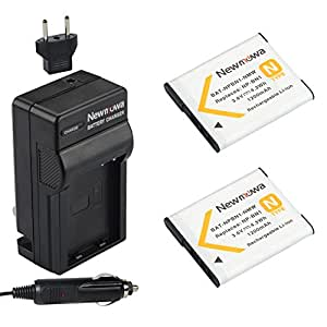Newmowa NP-BN1 Battery (2-Pack) and Charger kit for Sony NP-BN1 and Sony Cyber-shot DSC-QX10, DSC-QX100, DSC-T99, DSC-T110, DSC-TF1, DSC-TX5, DSC-TX7, DSC-TX9, DSC-TX10, DSC-TX20, DSC-TX30, DSC-TX55, DSC-TX66, DSC-TX100V, DSC-TX200V, DSC-W310, DSC-W320, DSC-W330, DSC-W350, DSC-W360, DSC-W380, DSC-W390, DSC-W510, DSC-W515PS, DSC-W520, DSC-W530, DSC-W550, DSC-W560, DSC-W570, DSC-W580, DSC-W610, DSC-W620, DSC-W650, DSC-W690, DSC-W710, DSC-W730, DSC-W810, DSC-W830, DSC-WX5, DSC-WX7, DSC-WX9, DSC-WX30, DSC-WX50, DSC-WX70, DSC-WX80, DSC-WX150, DSC-QX30