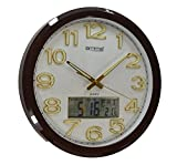"""Very Large 18"""" Classic Bold Quality Dark Wooden finish Office Wall Clock with Date & Temp"""
