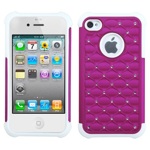 Mybat Asmyna Apple Iphone 4S/4 Luxurious Lattice Dazzling Totaldefense Protector Cover - Retail Packaging - Hot Pink/White