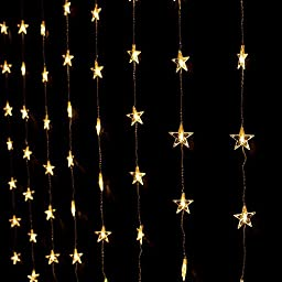 AGPTEK® 2Mx1.5M 80 LED Star light Curtain Fairy String Light Party Birthday Wedding Home & Outdoor Decoration, 8 Lights Flashing Modes With Control Box, Warm White