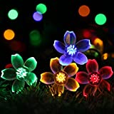 Outdoor Solar Powered String Lights - easyDecor Flower 8Mode 50 LED 23ft Multi-color Waterproof Decorative Christmas Fairy Blossom Light for Indoor Party - Wedding Decoration - Patio - Garden - Tree Decor