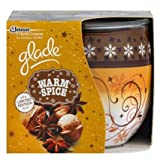 PACK OF 2 GLADE FRAGRANCED CANDLES IN DECORATED GLASS. COSY WARM SPICE FRAGRANCE. LIMITED EDITION CHRISTMAS/HOLIDAY/WINTER SEASON.