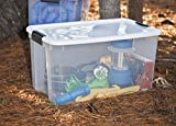 Sterilite 19889804 70 Quart/ 66 Liter Ultra Latch Box, White Lid & Clear Base w/ Latches, 4-Pack