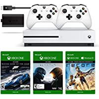 Microsoft Xbox One S 500GB Console (White) + Extra Wireless Controller + Play and Charge Kit + 3 Digital Games