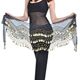 BELLYLADY Chiffon Dangling Gold Coins Belly Dance Hip Scarf, Vogue Style BLACK