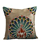 Rangrage - Marbled Pracock - Gray - Silk - Hand Painted Cushion Covers