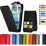 Sell-Ideas� Leather Wallet Flip Cover Case Pouch for Samsung Galaxy S4 Mini, Galaxy S IV Mini With Free Stylus and Screen Cover (Flip Vertical Case, Black)