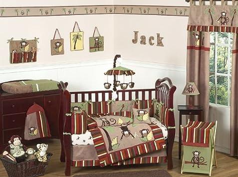 Beautiful Monkey Animal Jungle Safari Baby Boy Bedding pc Boys Crib Set