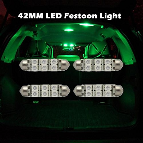 Partsam 4pcs Green festoon led 42MM 6SMD 5050 Car LED Interior Dome Bulb Light Lamp For 2007-2013 Chevrolet Tahoe (2007 Gmc Yukon Interior Parts compare prices)