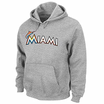 "Miami Marlins Majestic "".300 Hitter"" Hooded Sweatshirt - Grey"