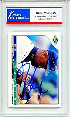 Greg Vaughn Autographed Milwaukee Brewers Encapsulated Trading Card