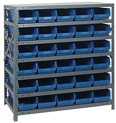 Steel Shelf Bin Unit 18 x 36 x 39, 7 Shelves, 18 QSB110 GREEN Bins 18 x 11