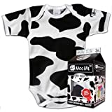 MooMe Organic Bodysuit In Milk Carton - Cow Spot 6-12 Months