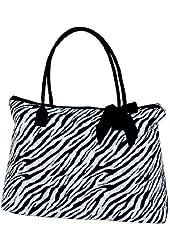 Lar Lar Quilted Zebra Extra Large Tote Handbag
