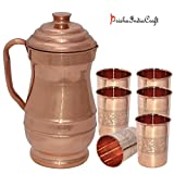 Prisha India Craft ® DIWALI GIFT - Pure Copper Jug ( MAHARAJA JUG 1900 ML / 64.25 Oz ) With Six Glass Drinkware...