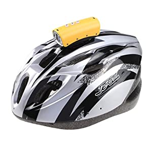 AGPtek® 20 Meter Waterproof 720P HD 5.0 Mega Lens 8 White Leds Video Action Camera Sports Helmet Cam Car DVR Yellow Color and New Mens Bicycle Helmet Bike Cycling Adult Ultra-light Visor PVC EPS Black with Silver (CE Certificated)