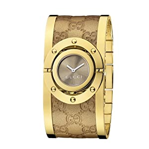 Gucci Twirl Collection Women's Quartz Watch with Brown Dial Analogue Display and Gold Leather Bangle YA112434