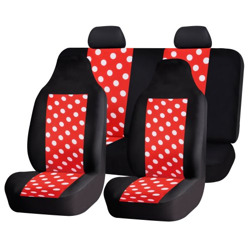 FH GROUP FH-FB115114 Full Set Fun Polka Dots Car Seat Covers , Red color- Fit Most Car, Truck, Suv, or Van (Car Seat Covers Chevy compare prices)