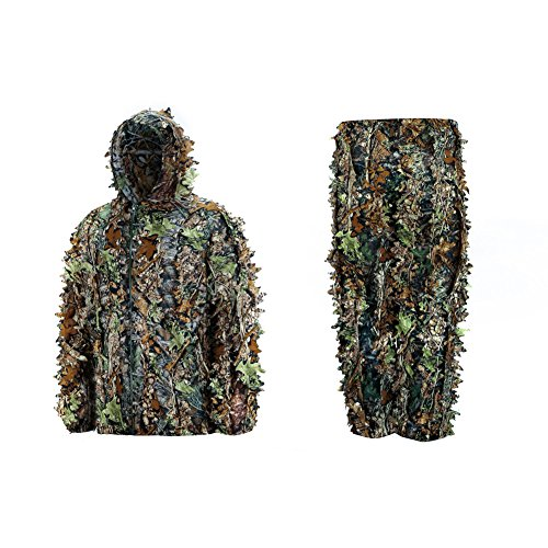 Mens-High-Quality-Natural-Hooded-Camouflage-Leafy-Hunting-Suit