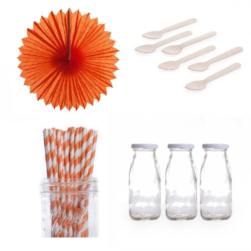 Dress My Cupcake Pinwheels Dessert Table Party Kit, Includes Vintage Glass Milk Bottles With Orange Striped Straws front-503261