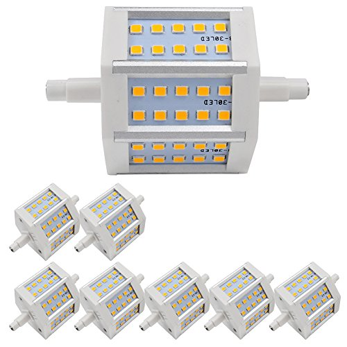 8X Led Bulb 6W Warm White Lamp R7S Dimmable Light 3000-3500K Smd 2835 Low Consumption 360Lm Ac 85-265 V