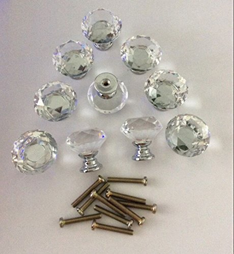 Diameter 30mm Diamond Shape Crystal Glass Cabinet Knobs 10pcs (Gold Draw Pulls compare prices)