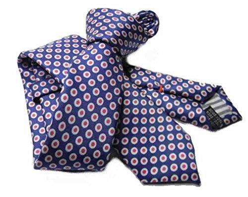 Avantgarde - Cravatta slim uomo a pallini retro POIS stile blu navy cerchietti bianco rosso fragola, multicolore 1