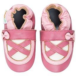 Momo Baby Infant/Toddler Ballerina Pink/Rose Soft Sole Leather Shoes - 6-12 Months/3-4 M US Toddler