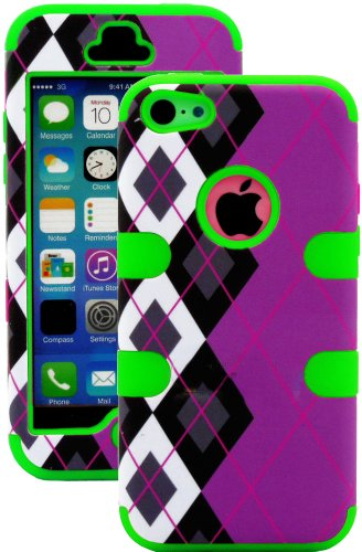 Mylife (Tm) Bright Green + Black Argyle Plaid 3 Layer (Hybrid Flex Gel) Grip Case For New Apple Iphone 5C Touch Phone (External 2 Piece Full Body Defender Armor Rubberized Shell + Internal Gel Fit Silicone Flex Protector + Lifetime Waranty + Sealed Inside