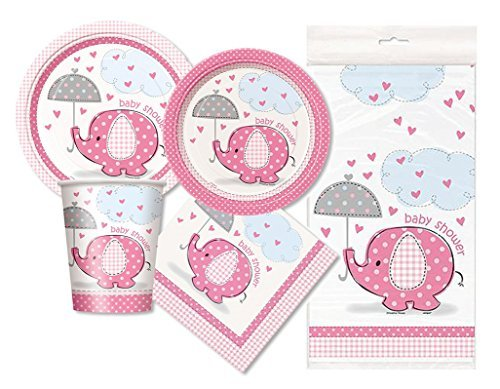 Pink Elephant Baby Shower Party Package - Serves 16 (Pink) (Baby Shower Themes compare prices)
