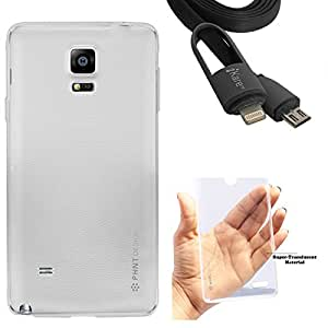DMG PHNT Premium Scratch-Resistant Ultra Thin Clear TPU Skin Case for Samsung Galaxy Note 4 N9100 (Clear) + 2-in-1 Lightning Cable with 8 Pin and Micro USB Connectors