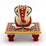 Little India Meenakari Work Lord Ganesh Marble Pooja Chowki (388, White)