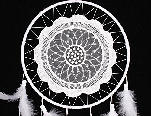 Handmade Decorative Dream Catcher, G2PLAY Complete Feathers Pendant Wind Chimes for Home Kids Bedroom Car Decoration (One Catcher White)