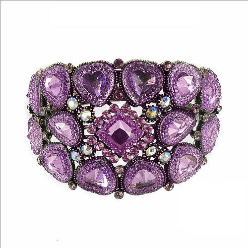 JOA Glass & Crystal Stone Hinged Bracelet #034401
