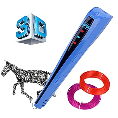 Kuman Newest Version 3D Printing Pen With LCD Screen for Doodling Drawing 3D Pen Tool with 2 * 1.75mm PLA Filament- As DIY Gift 3D Printers (Blue) 100C