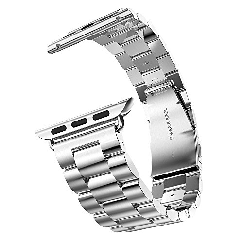 eLander Solid Stainless Steel Band with Durable Folding Clasp for 42mm Apple Watch - Silver
