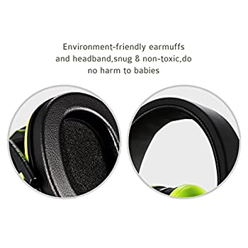 Homitt Kids Noise Cancelling Ear Muffs, Foldable Hearing Protection Ear Defenders for Children - Green