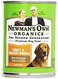 Newman\'s Own Organic Dog Food, Canned Turkey & Chicken Formula for Puppies/Active Dogs, 12.7 oz