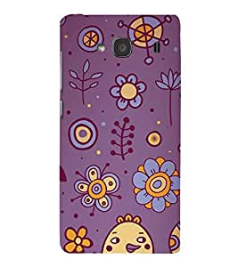 animated flowers and birds in blue background 3D Hard Polycarbonate Designer Back Case Cover for Xiaomi Redmi 2S :: Xiaomi Redmi 2 :: Xiaomi Redmi 2 Prime