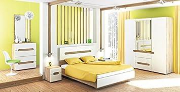 Schlafzimmer komplett 4-teilig 6501 sonoma eiche / weiß Hochglanz