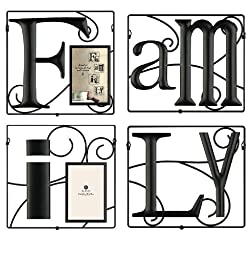 burnes of boston 3252446 family wire collage 4 piece picture frame black