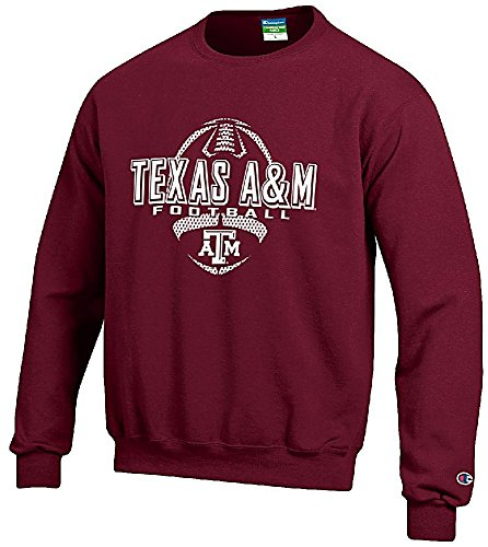 Texas A&M Aggies Maroon Football Powerblend Screened Crew Sweatshirt by Champion (XX-Large)