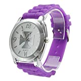 Unisex Purple Silicone Band Analog Quartz Wrist Watch with the Cross Shaped