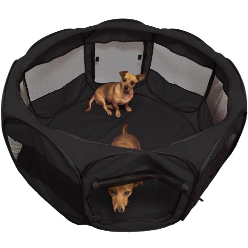 "Oxgord 45"" Pet Cage Pop Up Playpen Cat / Dog Exercise Kennel Crate ""Travel Gear Approved"" Portable Tent Fence - 2014 Newly Designed, Black"